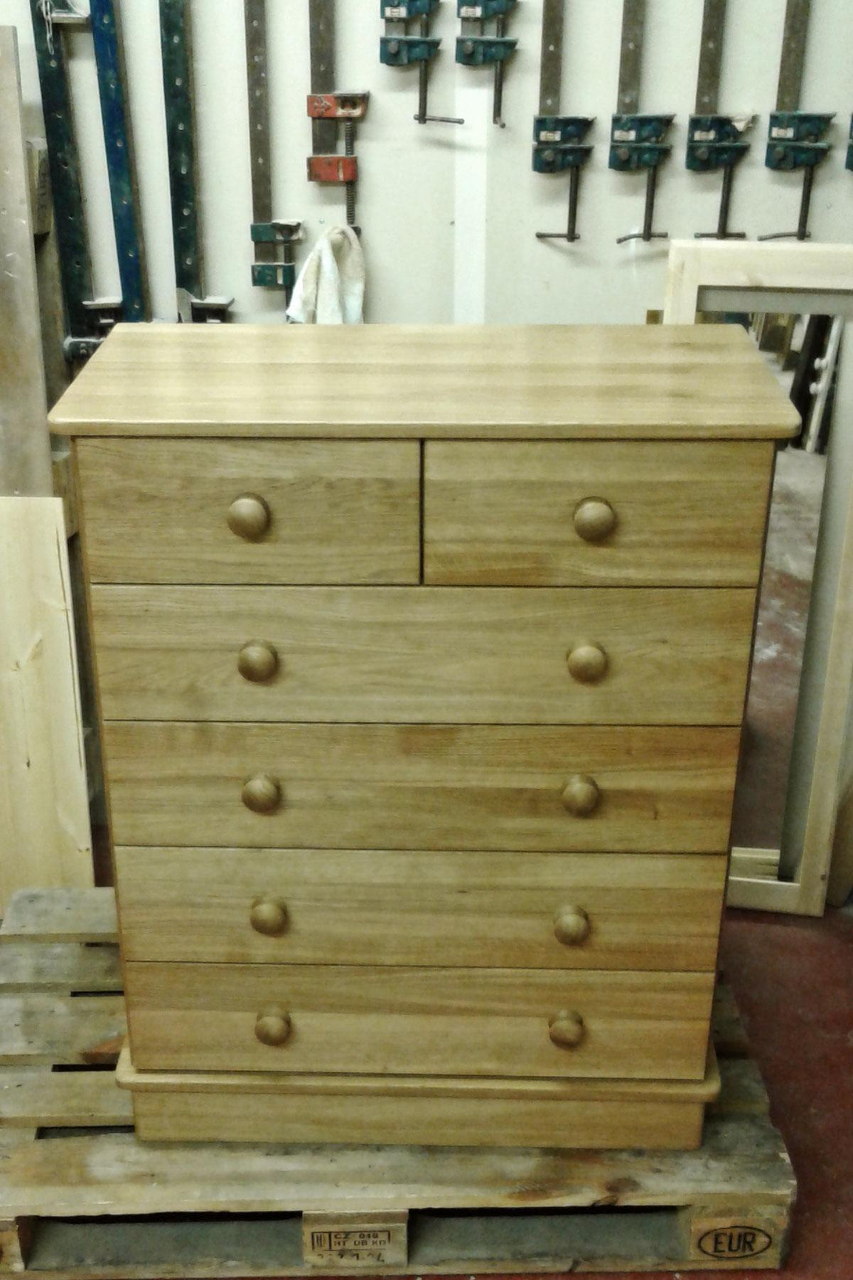 Custom five drawer oak chest of drawers