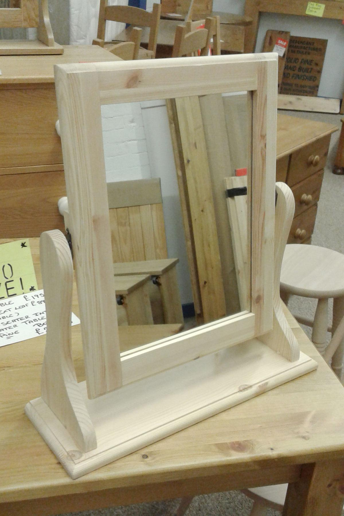 Pine free standing dressing table mirror
