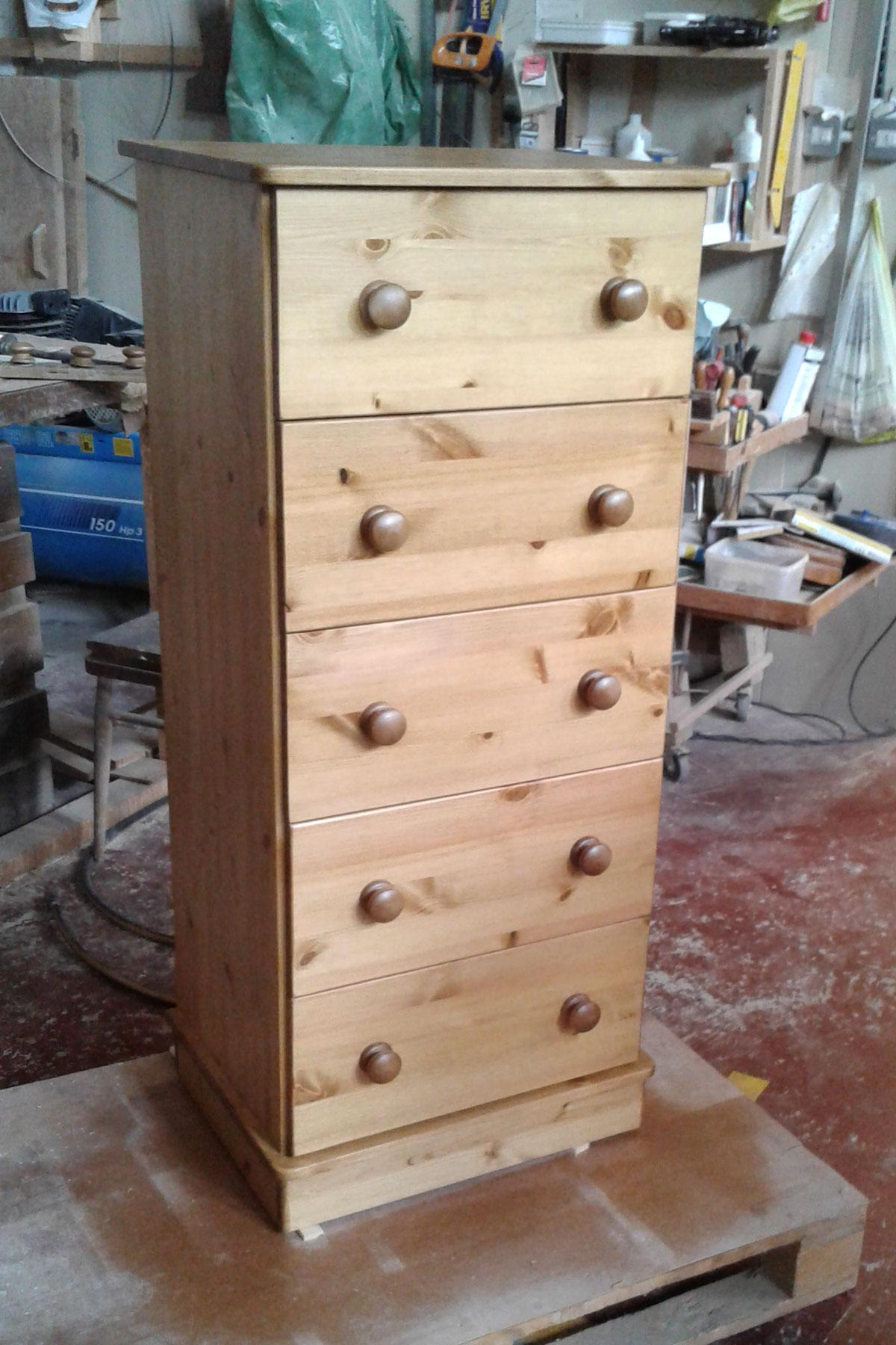 Custom five drawer chest