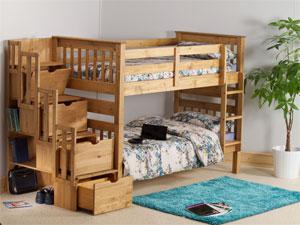 Novel staircase storage that can be fitted to either end of the bunk beds