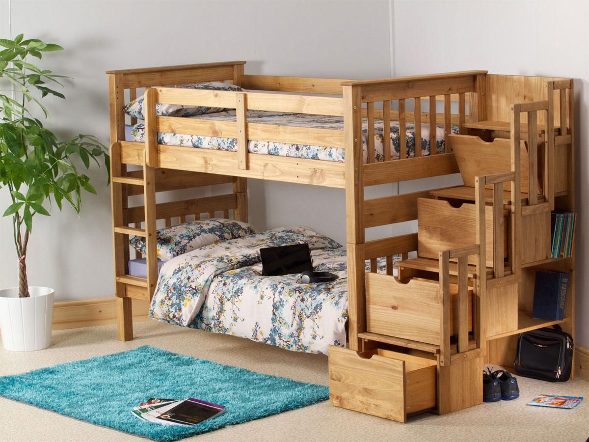 Discontinued: Mission Staircase Storage Bunk Bed in a waxed finish