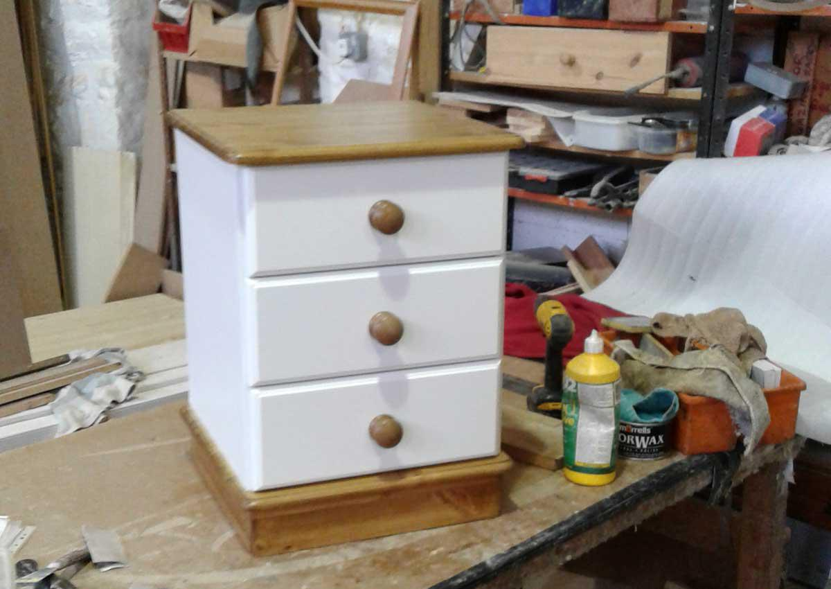 Three Drawer Painted Bedside Cabinet