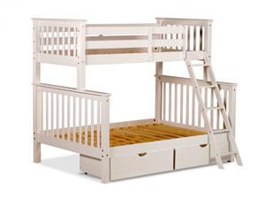 Pine bunk beds for sale, smaller over larger, with sturdy wooden ladders