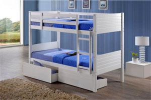 Wooden bunk beds with solid wooden ladder available in a durable white finish