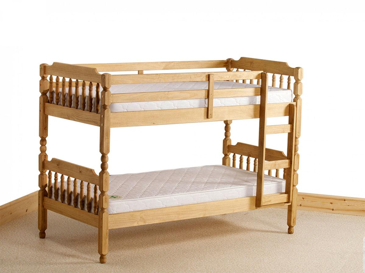 3'0 Colonial Style Spindle Bunk Bed in Waxed Finish