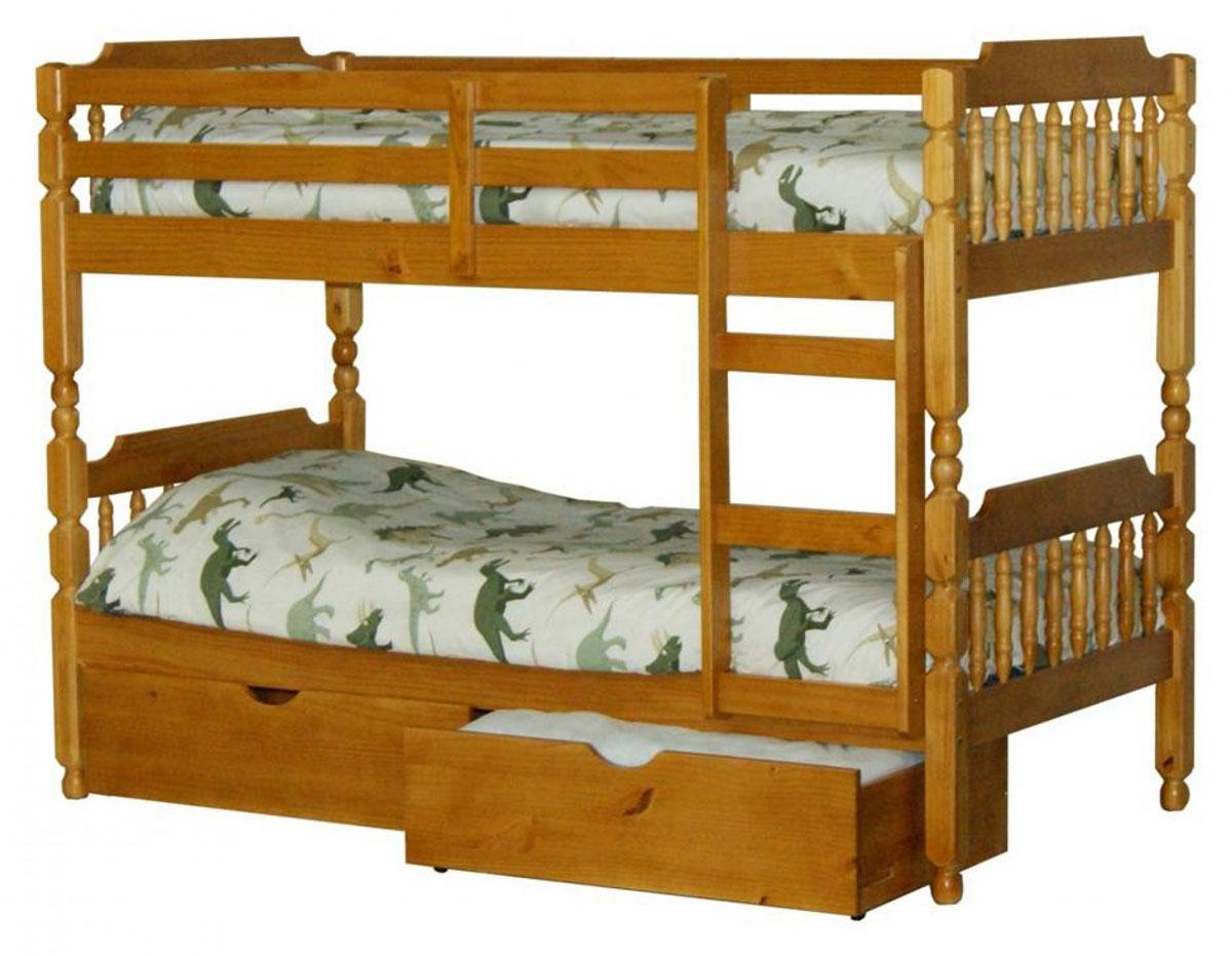 Colonial Style Spindle Bunk Bed in Honey Finish