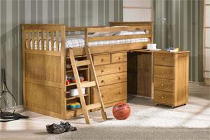 Wooden mid sleeper with desk, drawers, bookcase, perfect for any kids bedroom