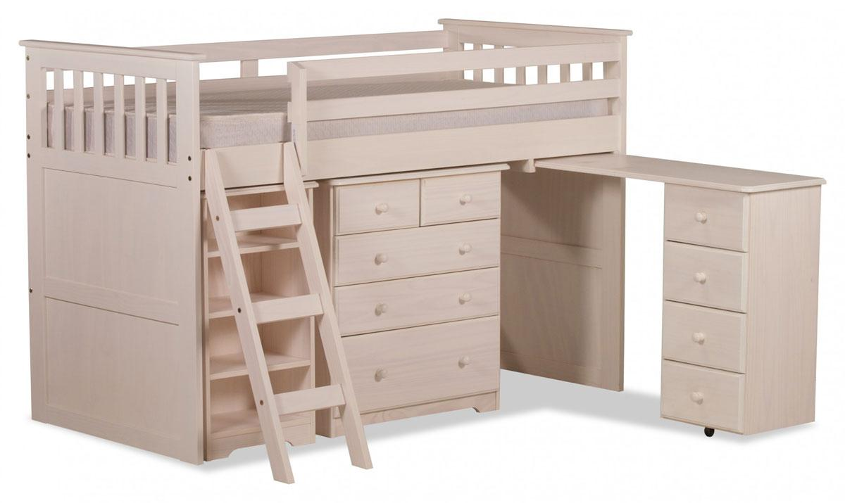Wooden Mid Sleeper Bed in White