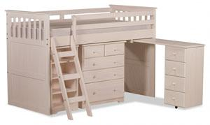 White wooden mid sleeper with desk, drawers, bookcase, perfect for any kids bedroom
