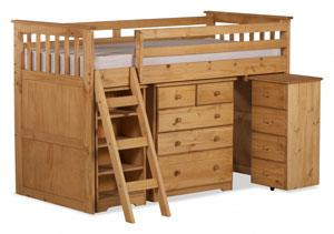 Waxed wooden mid sleeper with desk, drawers, bookcase, perfect for any kids bedroom