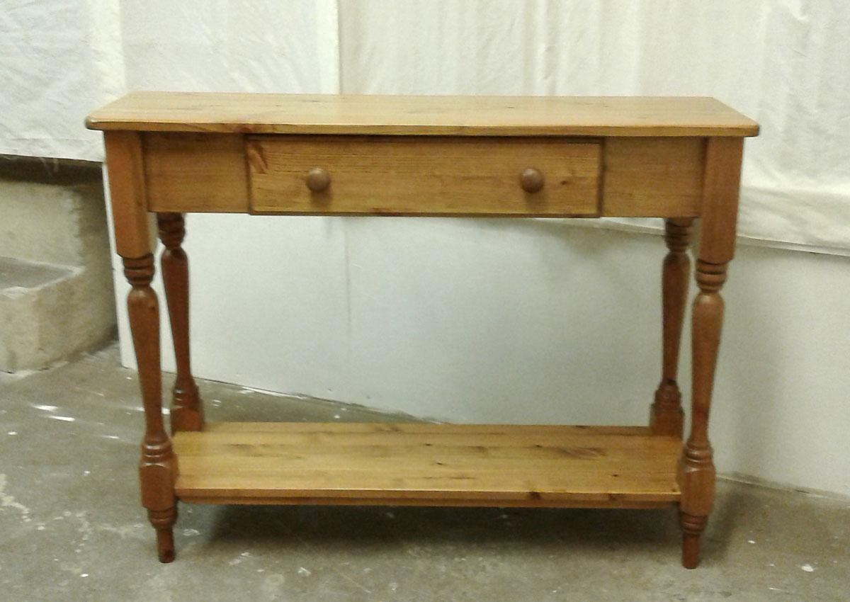 Pine hall table with drawer.
