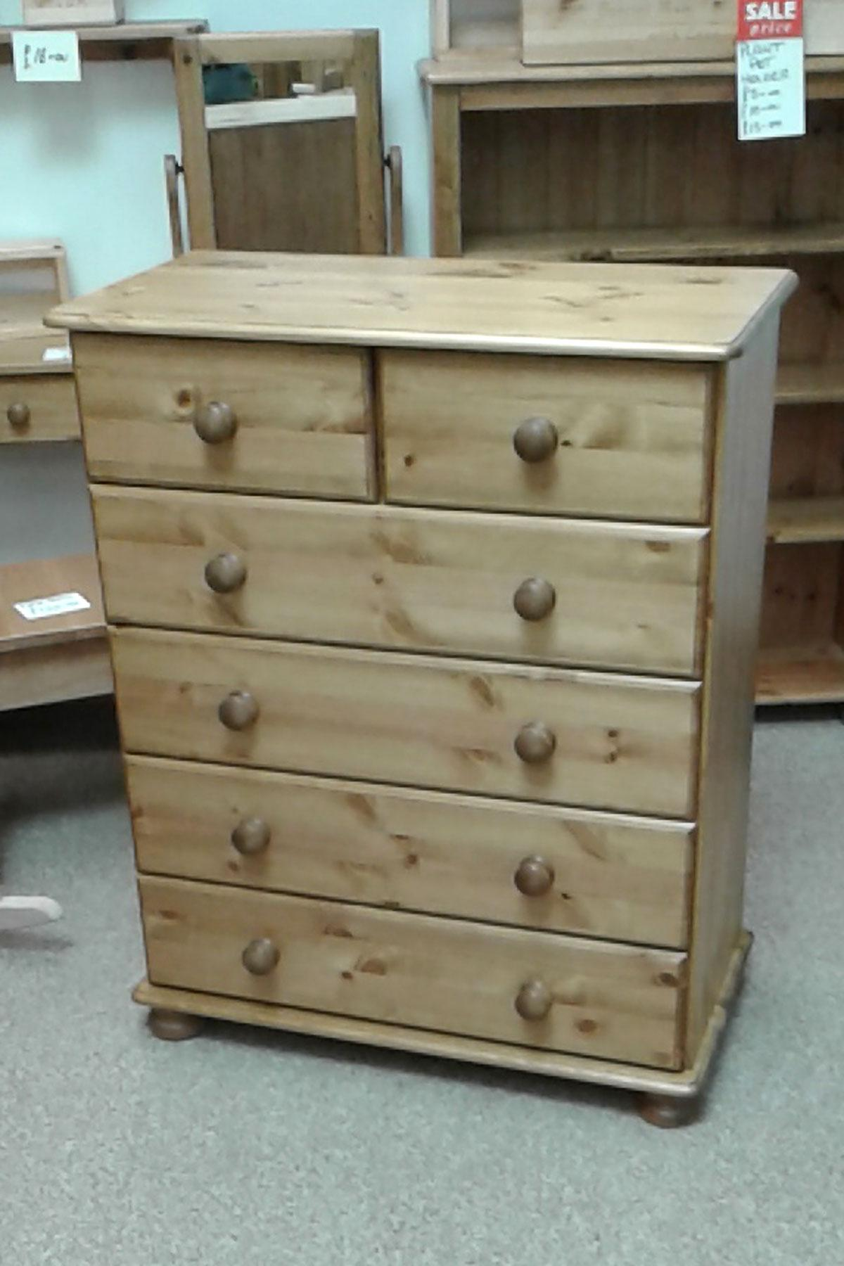 Devon 4+2 Pine Chest of Drawers