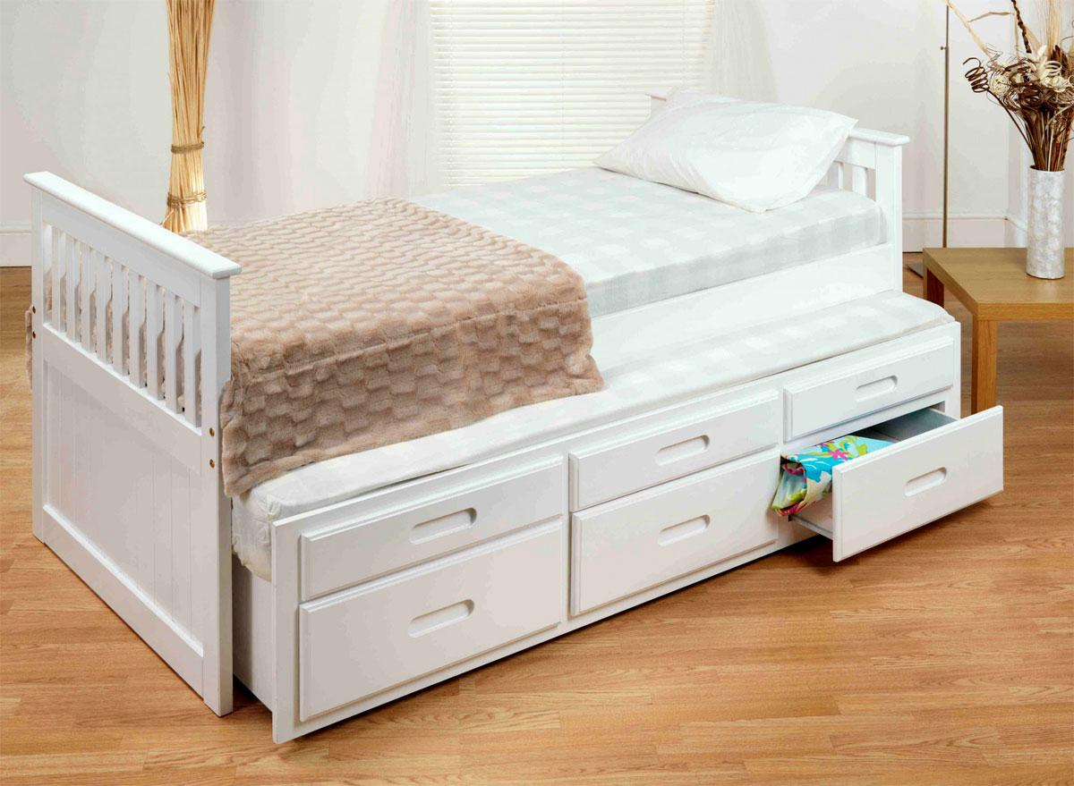 White Captains Bed with pull out bed under