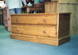 Custom made pine storage trunks and chests.