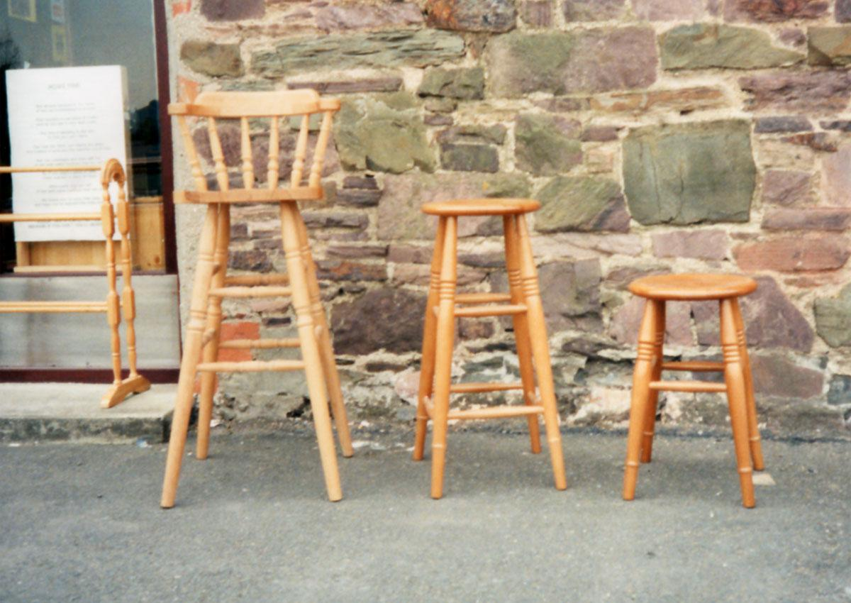 A Selection of Beech and Oak Kitchen Stools and Chairs