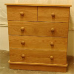 3+2 drawer oak chest of drawers