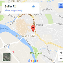 The location of our Pine Furniture showroom in Barnstaple, North Devon